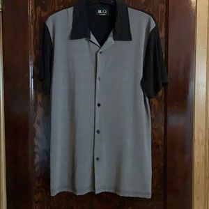 men's black and gray Short sleeve button down